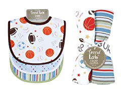Trend Lab Bib & Burp Cloth Set - Little MVP