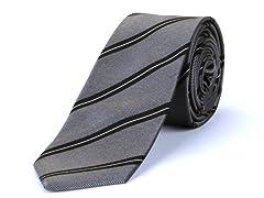 Silk Tie, Grey w/ Black Stripes