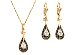 Black/Clear Swarovski Crystals Teardrop Drop Set