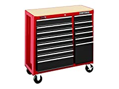 40-Inch 14-Drawer Rolling Cart, Red