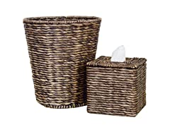 2PC Boutique and Wastebasket Set - Choc
