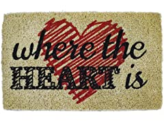 Heart Is Handwoven Coconut Fiber Doormat