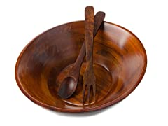 "14"" Salad Bowl with Servers Set"