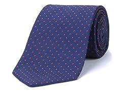 Silk Tie, Navy w/ Red Polkadot