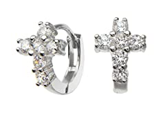 Sterling Silver Simulated Diamond Cross Huggies