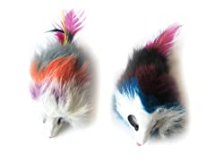 6Pk Multi-colored Long Hair Fur Mice - Assorted - 12 Pcs