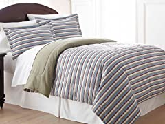 Micro Flannel® Comforter Set- Stripe-3 Sizes
