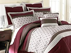 8pc Comforter Set - Chantal Red - 3 Sizes