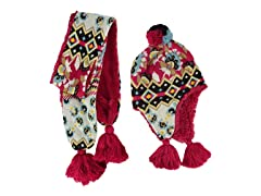 MUK LUKS® Faux Fur Lined Helmet w Scarf, Red