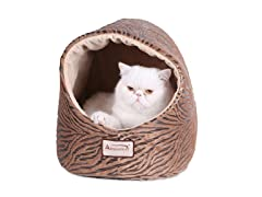 Hooded Cat Bed - Bronze & Beige