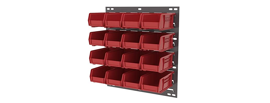 Louvered Panel and 16 Plastic Bin Set