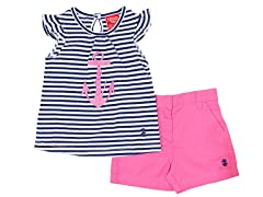 Navy & Pink Anchor 2-Pc Short (24M-2T)