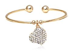 Gold/White Swarovski Elements Heart Charm Bangle