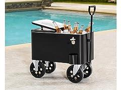 Sunjoy 60-Quart Rolling Cooler Cart