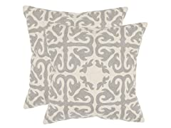 Moroccan Pillows-Light Grey-Set of 2