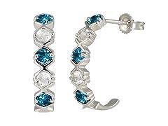 SS Swiss Blue Topaz & White Topaz J Hoop Earrings