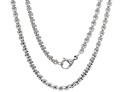 Men's Stainless Steel Rounded Box Chain Necklace