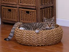 Paper Rope Round Cat Bed with Pillow