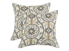 Oh Suzani 17x17 Pillows - Metal - Set of 2