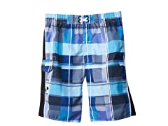 Swim Short - Plaid Blue (Sizes 7-16)