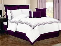 Klyne Embroided 8Pc Set-Purple-2 Sizes