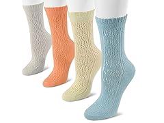 MUK LUKS 4-pk Pointelle Crew Socks