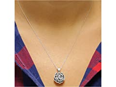 Sterling Silver Artisan Rose Necklace