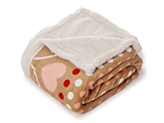 Fleece Sherpa Blanket Throw - Red Hearts