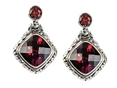18kt Gold Accent Garnet Square Earrings