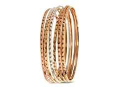 18kt Plated Pyramid Design Bangle 7-Pack