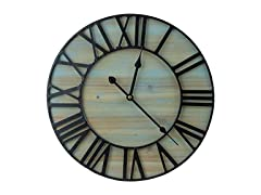 Metal & Solid Wood Wall Clock (40 diameters)
