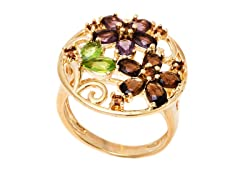 18K GP Gold and Multi Color Crystals Flower Ring