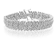 Platinum Overlay 2 CTTW Diamond Petal Tennis Bracelet