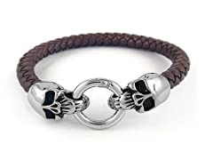SS Skull Lock Braided Leather Bracelet, Brown