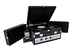 Classical Turntable with Dual Fold-Out Speakers