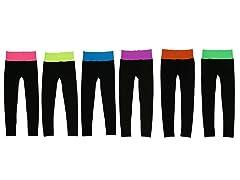 6Pk Neon Color Waist Band Leggings