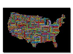 US Cities Text Map II  18x24 Canvas