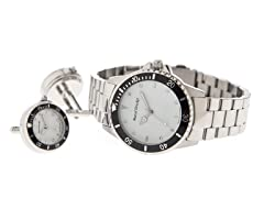 Men's Watch, Cufflink Set, White Dial