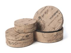 Burlap Round Box Set of 3