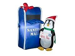Airblown Penguin Santa's Mail Scene