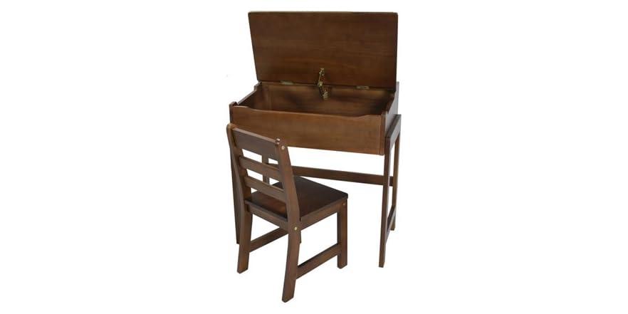 Kid S Slanted Top Desk Amp Chair Walnut