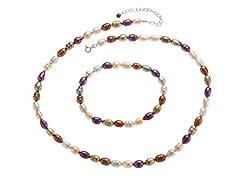 Purple Tint Pearl Necklace & Bracelet