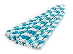 Sip Sip Hooray Paper Straws - Aqua/Wht, 100ct