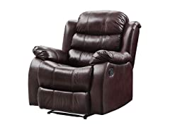 Polished Microfiber Burgundy Glider Recliner