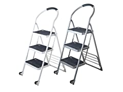 Stalwart 3-Step Ladder & Dolly - Silver or White