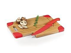 Picnic Time Culina Cutting Board & Knife Set - Red