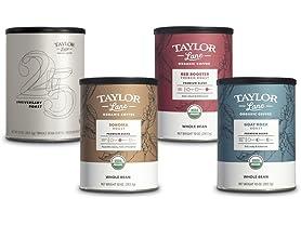 4 Pack Taylor Lane Organic Whole Bean Coffee Favorites Sampler
