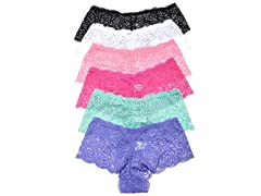 Rose Floral Lace Cheeky Boxers 6-Pack