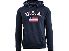 Men U.S. A. Flag Pull Over Hoodie