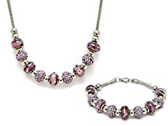 Stainless Steel Purple Mix Charm Set